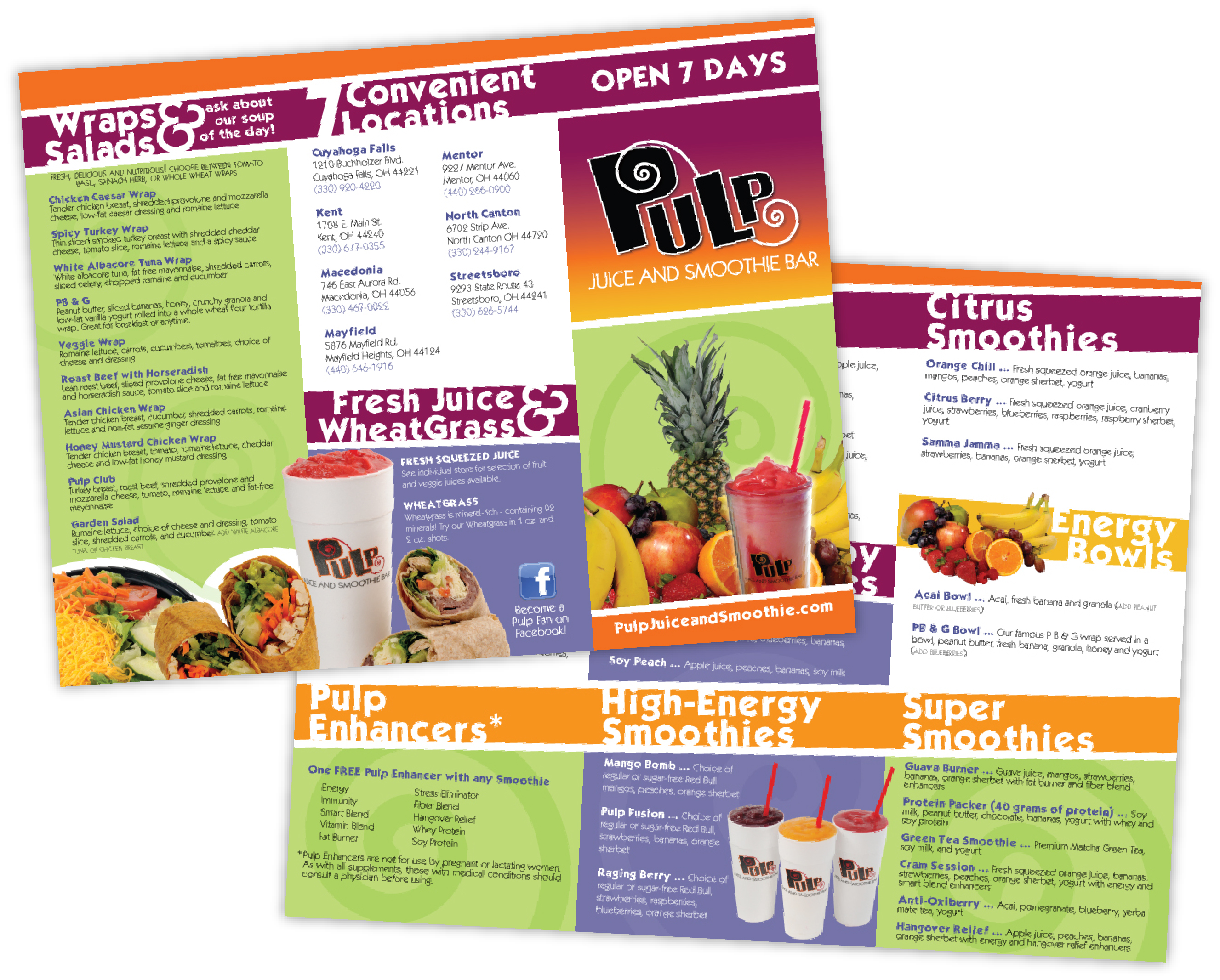 back pulp juice and smoothie bar menu collateral client pulp juice and ... Pulp